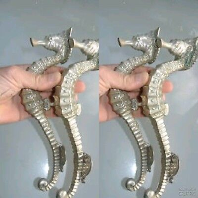 "4 USED  small SEAHORSE solid brass door SILVER old style PULL handle 10"" long B"