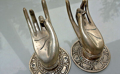 """2 Pull handle hands amazing brass silver door old style knob hook 3 """"old style B"""