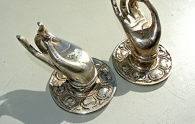 """2 small Pull handle hands amazing brass silver door old style knob hook 2.1/4 """"B"""