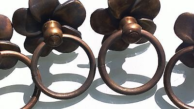4 handle ring pull flower solid brass heavy old vintage asian style DOOR 70 cm B