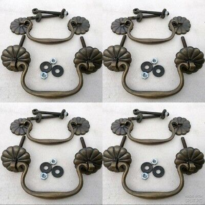 8 heavy bale pulls handle aged solid brass vintage 12cm old style bolt kitchen