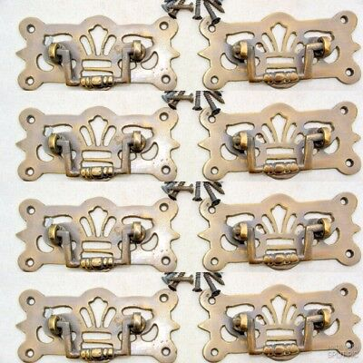 """8 small pulls handle solid brass door old vintge style drops 3"""" kitchen drawer"""