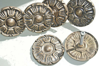 "6 rosettes flower solid brass heavy old vintage style aged DOOR 3"" wide"