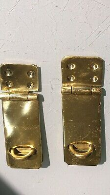 2  box catch hasp latch vintage style house POLISHED DOOR heavy rectangle 11 cm