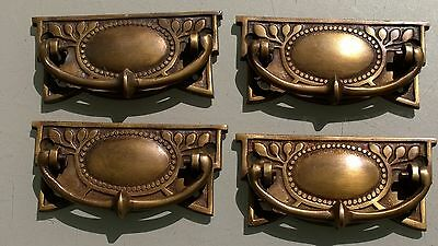4 heavy vintage old style handles door brass furniture antiques 95 mm pulls