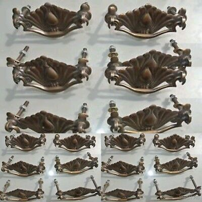 24 small DECO cabinet handles solid brass furniture antiques old style 90mm bolt