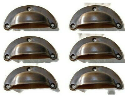 6 small shell shape pulls handles antique solid brass vintage aged drawer 66 mm