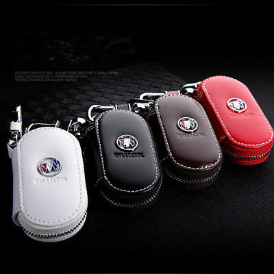 Genuine Leather Compact Car Key Chain Ring Key Chain Case Holder Bag Purse Pouch