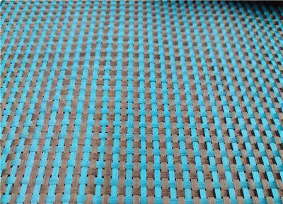 Lake Blue Aramid + Black Carbon Fiber Blended Fabric Weave Cloth 100*50cm 230gsm