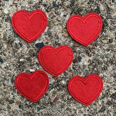 5pc Heart Embroidery Edged Felt Patch Cloth Iron On Applique Love #1307
