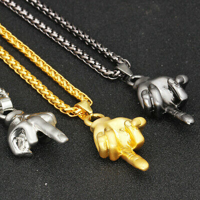 Unisex Hip Hop Necklace 18K Gold Plated Hand Gesture Pendant Chain Jewelry Gift