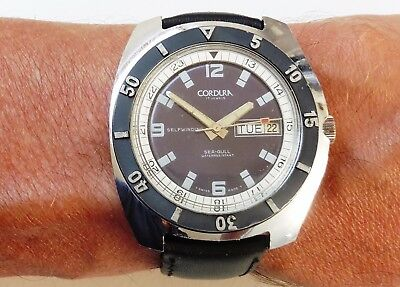 Mens Swiss SS Cordura Sea-Gull by Sicura Dive style Auto Day/Date Watch Serviced