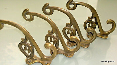 "4 hall stand COAT HOOKS door solid brass antiques vintage old style 5"" hook"