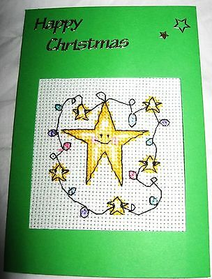 Christmas Card Completed Cross Stitch Star Fairy Lights
