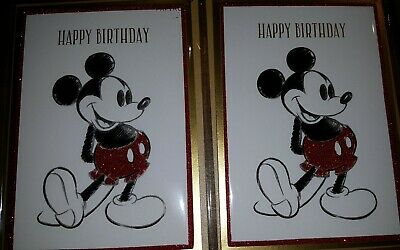 2 LOT PAPYRUS Disney Glittery Standing Mickey Mouse Drawing Happy Birthday Cards