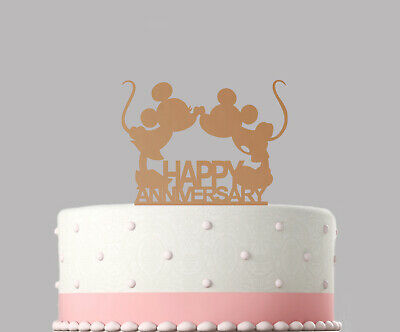 Happy Anniversary Mickey Mouse Wedding Rose Gold Mirror