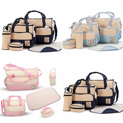 Baby Nappy Changing Bag Set 5pcs Mummy Maternity Hospital Shoulder Handbag Bag