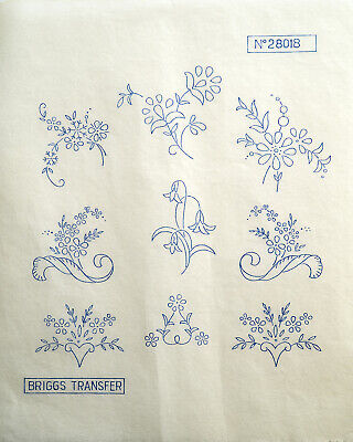 Vintage Iron On Embroidery Transfers Flower Designs Briggs Transfer 28023