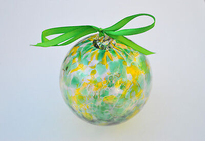 "Happy St Patrick's Day Friendship Ball -10 cm 4"" Hand blown Kugel Ball"