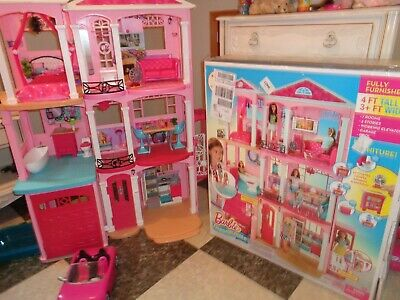New Mattel Barbie 3 Story Pink Furnished Doll Town house Dreamhouse Townhouse