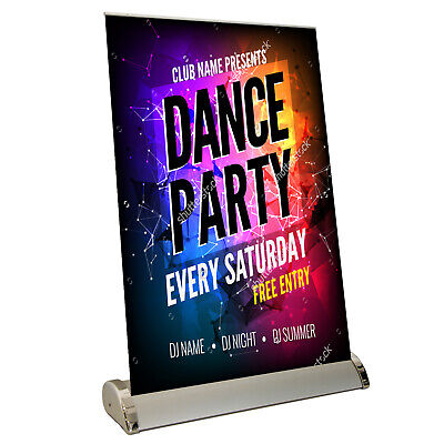 Mini Roller Banner Desktop Display Stand - Pull / Pop / Roll Up Exhibition Show