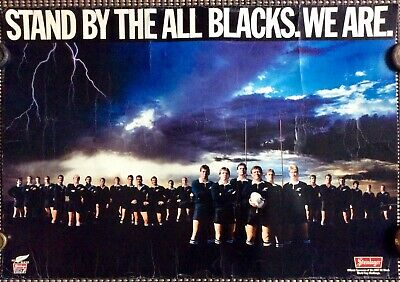 Fantastic 1987 Rugby World Cup All Blacks Steinlager Poster On Card
