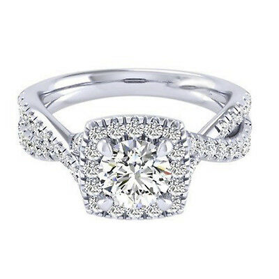 Lab Created 1.20Ct Diamond 14K White Gold Round Cut Rings  VVS1