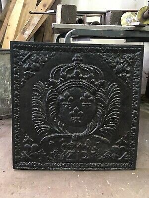 Large Antique Cast Iron Fire Back, Heavy Fire Plate, Fireplace, Very Big