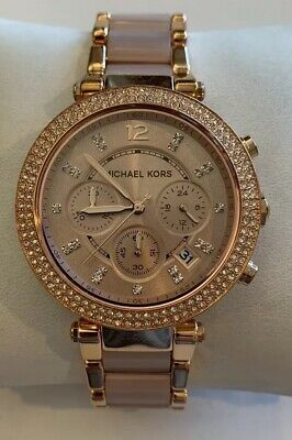 Michael Kors Parker Rose Gold Blush MK5896 Womens Watch Blush Crystal Set