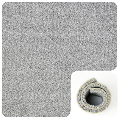 HARDWEARING Light Grey Felt Back 4m Wide Carpet Remnant/Roll End