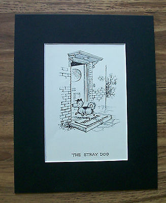 Stray Dog Cartoon Print Norman Thelwell Welcome Mat 1964 Bookplate 8x10 Matted