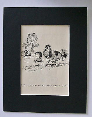 Dog Cartoon Print Norman Thelwell Choosing Your Pup Bookplate 1964 8x10 Matted