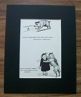 Dog Cartoon Print Norman Thelwell Mouse Noble Courageous 1964 Bookplate Matted
