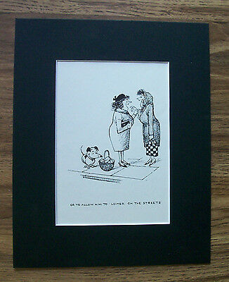 Dog Cartoon Print Norman Thelwell No Loitering 1964 Bookplate 8x10 Matted Cute