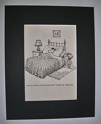 Dog Cartoon Print Norman Thelwell Preferred Bed Bookplate 1964 8x10 Matted Cutie