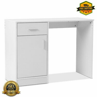 Wooden Office Computer Desk White Study Storage Table Study Home Workstation