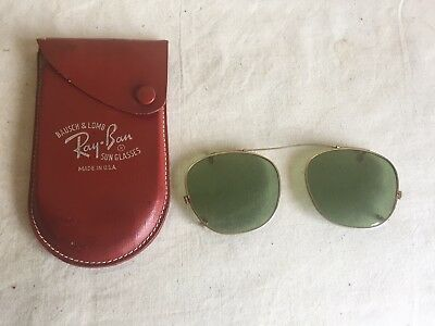 Vintage Bausch & Lomb Rayban Clip On Sunglasses With Original Red Leather Case