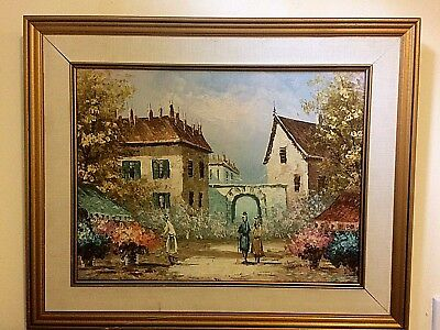 OIL PAINTING ON CANVAS TONNIE BARR (Listed Artist) FLOWER MARKET SCENE,FRAMED