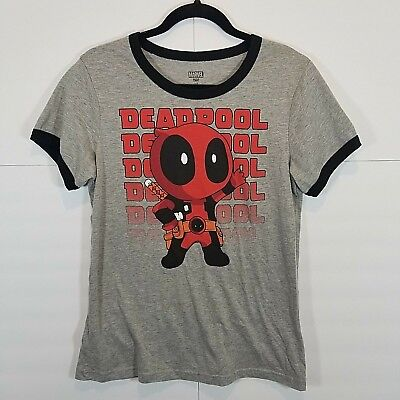 af618a961 Marvel Comics Deadpool Unisex Size Large Graphic T-Shirt Gray Black Cotton