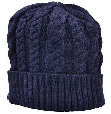 8a3c6267904 Beanie Ski Hat Cable Knit Navy Blue one size fits up to Adult Medium
