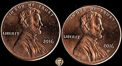2016 (P) D Lincoln Shield Cents - MS/BU uncirculated - taken from US Mint Set