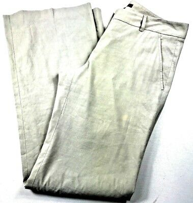 7adfc9c748 Theory Womens Linen Blend Pleated Front Wide Leg Emory Khaki Pants Size 10  B628