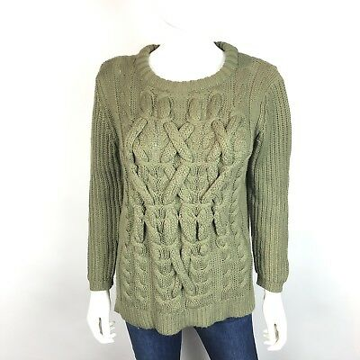 Zara Knit Womens Sweater Sz L Olive Green Chunky Knit Crew Neck Long Sleeve c92c018d8