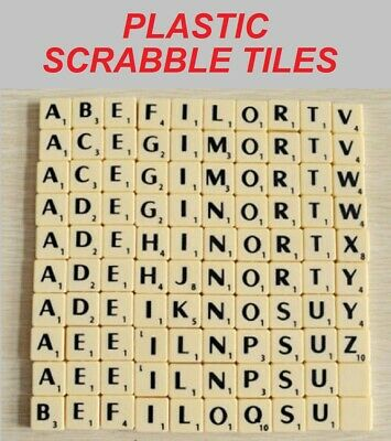 IVORY SCRABBLE TILES - Plastic Individual Tiles A-Z With Black Letters & Numbers