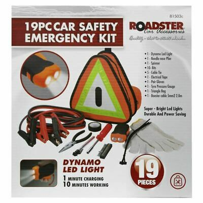 New Roadside 19pcs Car Safety Emergency Kit Breakdown Vehicle Triangle Led Light