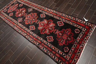 "3'8"" x 9'6"" Vintage Hand Knotted Hamadann Traditional Oriental Area Rug Runner"