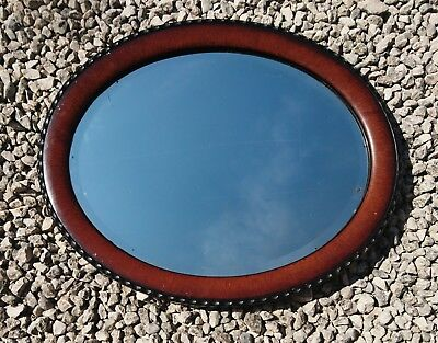 Victorian oval mirror, antique Mahogany and ebonised mirror
