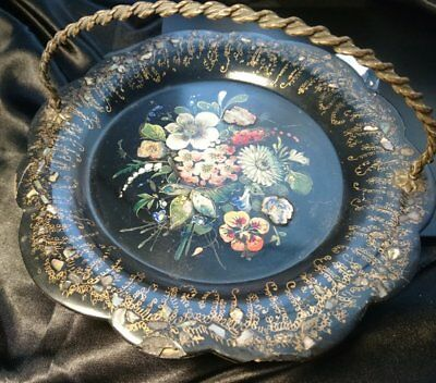 Victorian papier mache card tray, gilt and inlaid mother of pearl, hand painted