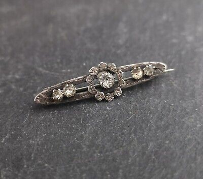 Victorian silver paste brooch, antique sterling silver floral brooch, foiled
