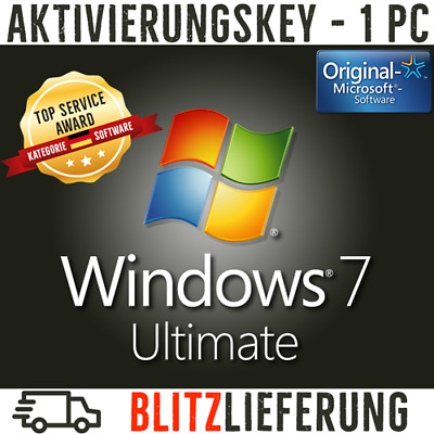 Windows 7 Ultimate Vollversion 32 & 64 Bit Aktivierungsschlüssel (Key) Win 7